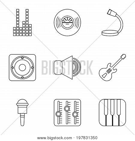 voice recording icons set. Outline set of 9 voice recording vector icons for web isolated on white background