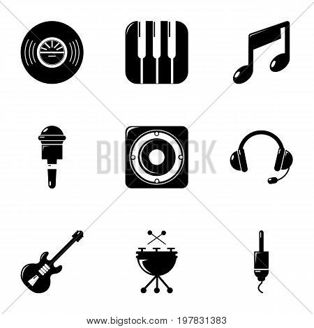 Voice recording icons set. Simple set of 9 voice recording vector icons for web isolated on white background