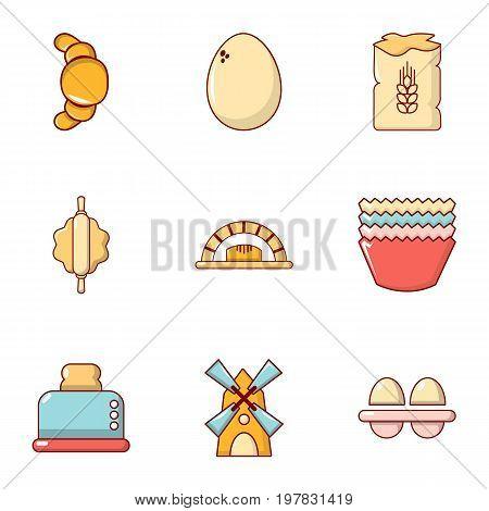 Food production set icon icons set. Flat set of 9 food production set icon vector icons for web isolated on white background