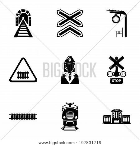 Train icons set. Simple set of 9 train vector icons for web isolated on white background
