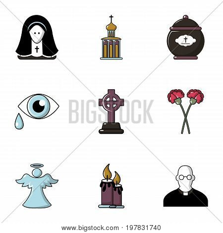 Cemetery icons set. Flat set of 9 cemetery vector icons for web isolated on white background