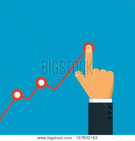 Hand touching up holding chart arrow. Profit concept. Businessman manages financial growth graph. Vector illustration. Eps 10.