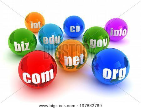 Domains Concept  3D Illustration