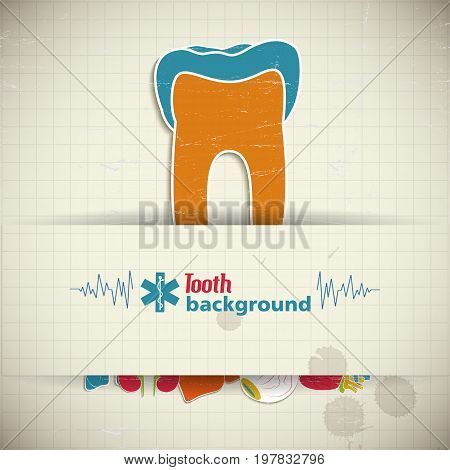 Internal human organs concept with tooth sticker and medical symbols on squared background vector illustration