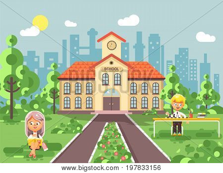 Stock vector illustration back to school character schoolgirl schoolboy pupil sitting on grass near trees bushes exterior schoolyard read book doing homework play chess gymnasium background flat style.