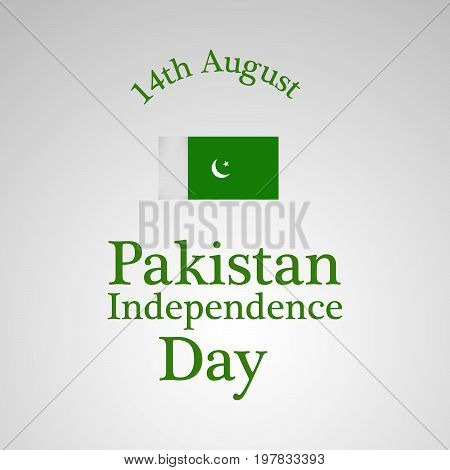 illustration of Pakistan flag with 14th August Pakistan independence day text on the occasion of Pakistan Independence day