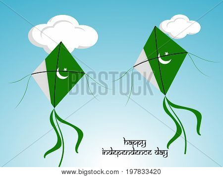 illustration of kites in Pakistan flag background with happy Independence day text on the occasion of Pakistan Independence day