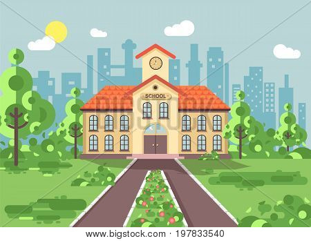 Stock vector illustration back to school architecture two-story building with porch, clock on tower, trees bushes exterior schoolyard behind structure background in flat style for video design element