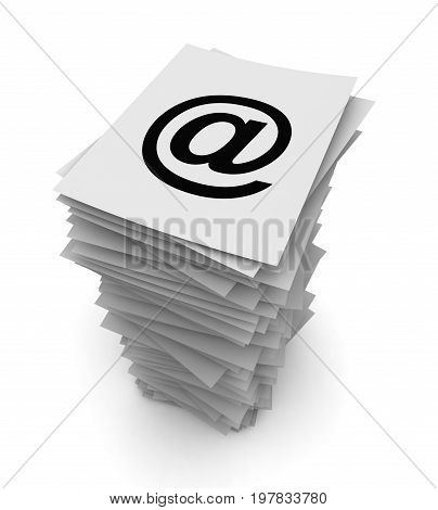 E Mail Stack Concept  3D Illustration