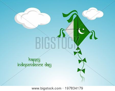 illustration of kite in Pakistan flag background with happy Independence day text on the occasion of Pakistan Independence day