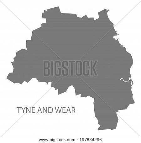 Tyne And Wear Metropolitan County Map England Uk Grey Illustration Silhouette Shape