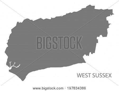 West Sussex County Map England Uk Grey Illustration Silhouette Shape
