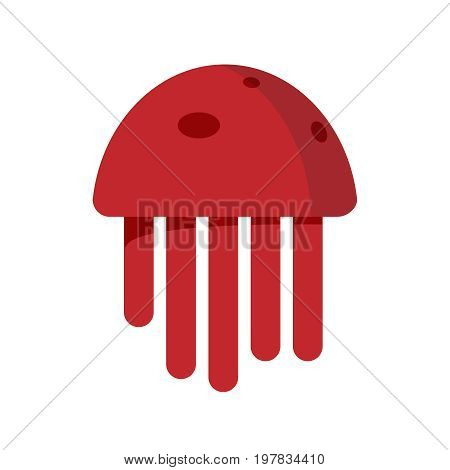 Cute Happy Jellyfish Cartoon Character Sea Animal Vector Illustration. Nature Animal Aquatic Medusa,