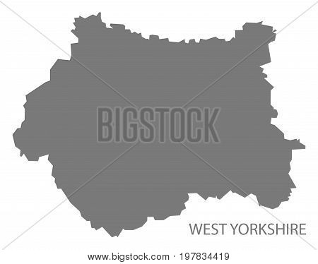West Yorkshire Metropolitan County Map England Uk Grey Illustration Silhouette Shape
