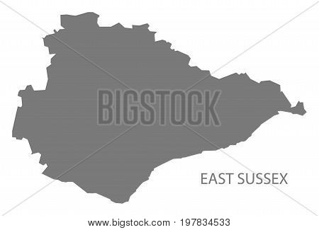 East Sussex County Map England Uk Grey Illustration Silhouette Shape