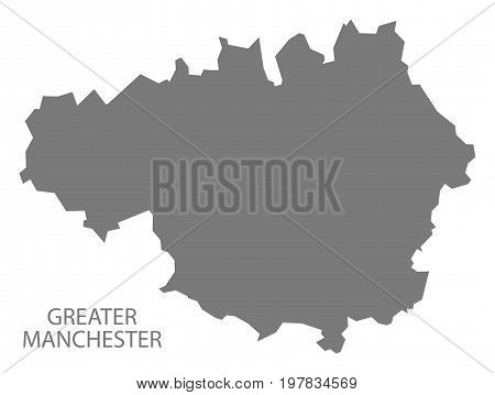 Greater Manchester Metropolitan County Map England Uk Grey Illustration Silhouette Shape