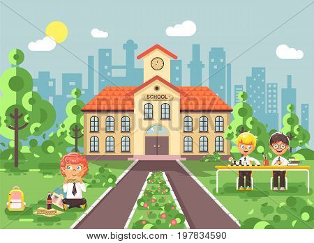 Stock vector illustration children characters schoolboys pupils apprentices classmates play chess dinner lunch, read book doing homework school building gymnasium for boys background in flat style