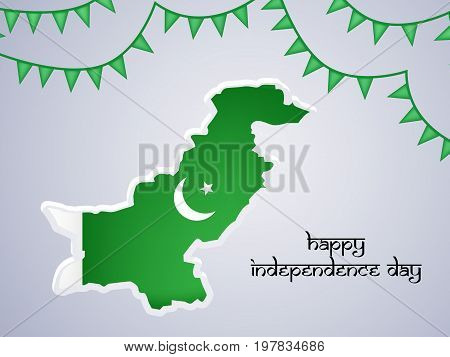 illustration of map in Pakistan flag background and decoration on the occasion of Pakistan Independence day