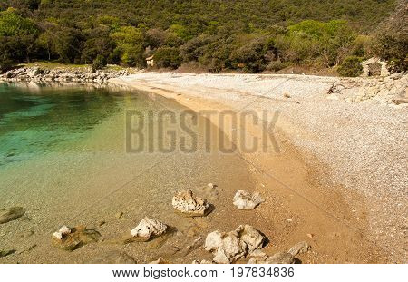 Beach Kruscica near Merag on the island of Cres (Croatia)