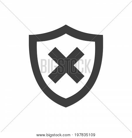 Unprotected shield icon on a white background