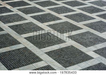 Cityscape with empty brick floor. urban background.