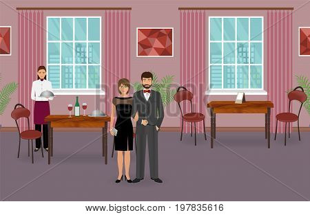 Restaurant interior with couple of visitors and waitress with dish near served dinner table. Food service concept with man and woman characters and waiter in uniform. Vector illustration.
