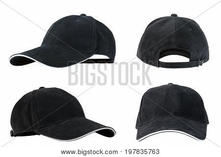 Collection of black baseball caps isolated on white background concepts of beauty fashion and sport object.