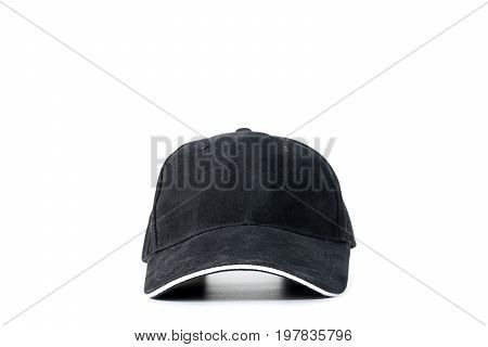 Black baseball cap isolated on white background concepts of beauty fashion and sport object.