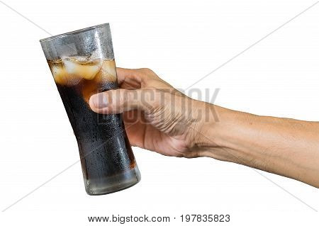 Hand of a man holding a cola glass with ices isolated on white backgroundwith clipping path-Food and drink industry and celebrations concepts.