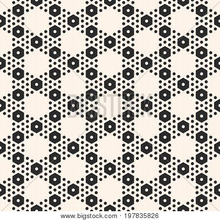 Hexagon background. Vector monochrome texture, simple geometric seamless pattern with big and small hexagons. Repeat abstract modern background. Design for textile, decor, print, cover, tiling, covers, package. Geometric pattern. Hexagon pattern.
