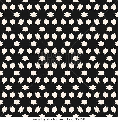 Floral  patterm. Abstract geometric seamless pattern. Simple vector monochrome texture with flower silhouettes. Floral background. Subtle dark minimalist background, perforated surface. Design for prints, decor, covers. Seamless flower pattern.