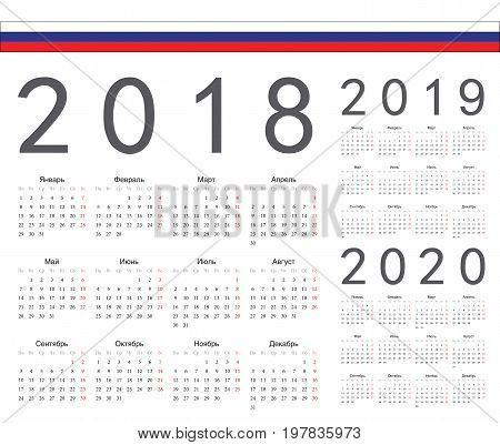 Set Of Russian 2018, 2019, 2020 Year Vector Calendars