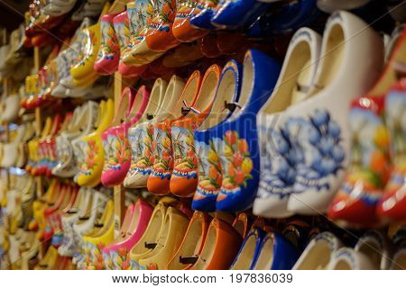 NETHERLANDS - July26 2017 : Dutch traditional wooden shoes, clog at souvenir shop