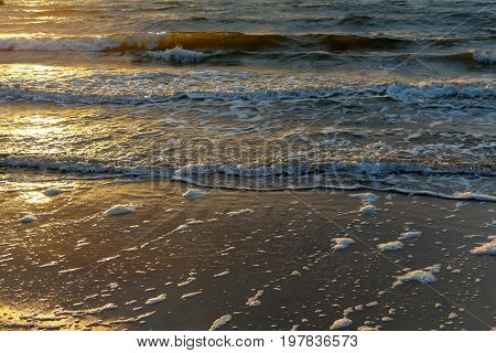Gentle waves of the Baltic Sea on a sandy beach at sunset in Kolobrzeg in Poland.