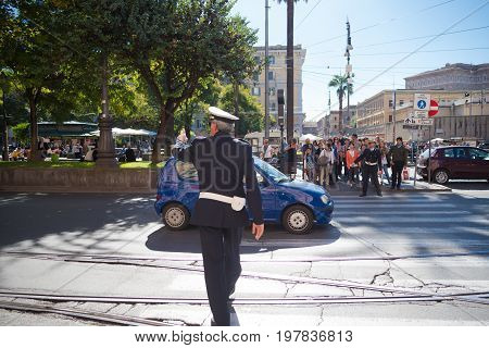 ROMA ITALY - OCTOBER 16 2016: Roman police office controlling traffic in the city center