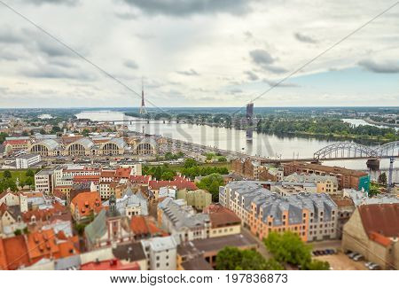 Panoramic view of Riga with the effect of a tilt shift lens