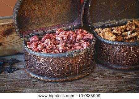 Street food in Tallinn - nuts in sugar glaze with spices
