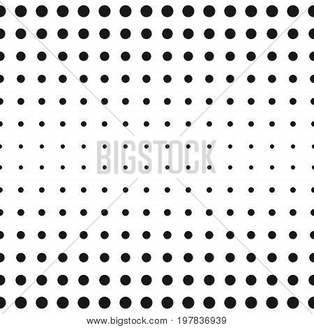 Halftone background. Vector monochrome seamless pattern, black & white halftone transition different sized circles. Polka dot background. Simple minimalist modern background. Abstract geometric texture for prints, decoration, digital, web.