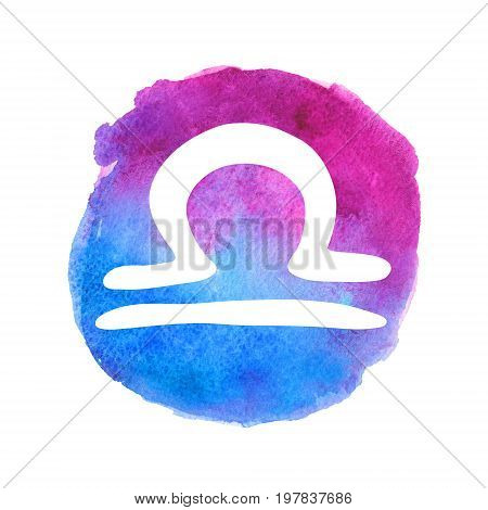 White Libra sign on watercolor gradient background