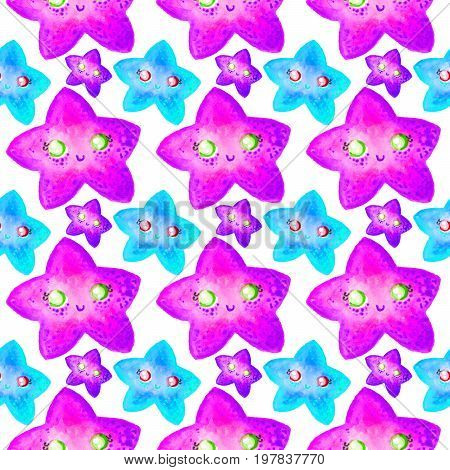 Seamless pattern with colorful starfishes on white background