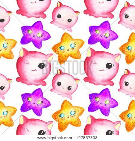 Seamless pattern with little pink marine monsters and colorful starfishes