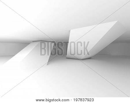 White Columns And Soft Shadows, 3D Illustration