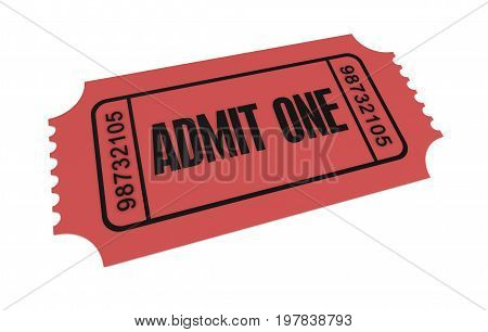 Ticket Admit One Concept  3D Illustration