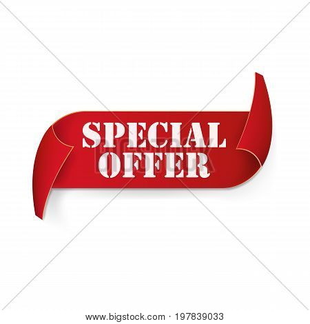 Special offer sale red curved ribbon isolated on white background. Vector illustration. Eps 10.