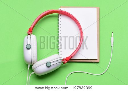 Headset For Music And Blank Page. Headphones In White, Red