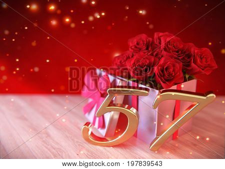 birthday concept with red roses in gift on wooden desk. 3D render - fifty-seventh birthday. 57th