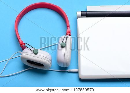 Music, Sound Recording And Digital Equipment Concept. Headphones And Laptop