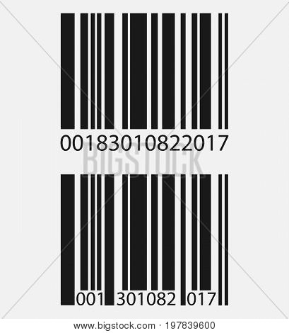 Realistic barcode icon isolated on grey background. Vector illustration. Eps 10.
