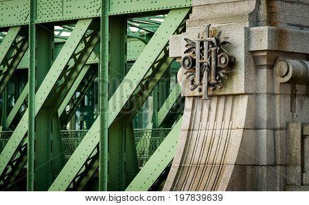 Initials of emperor Franz Joseph on the Schemerl Bridge in Vienna