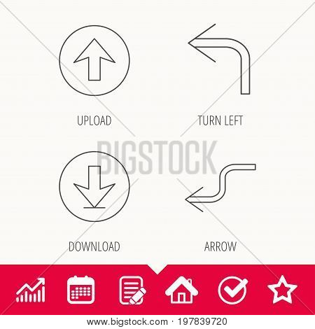 Arrows icons. Download, upload and shuffle linear signs. Turn left, back arrow flat line icons. Edit document, Calendar and Graph chart signs. Star, Check and House web icons. Vector